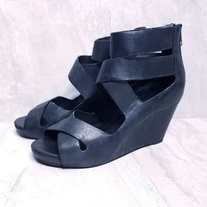 Aldo Black Strappy Wedges Size 37 or 7